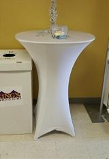 Cocktail Table with White Spandex Linen